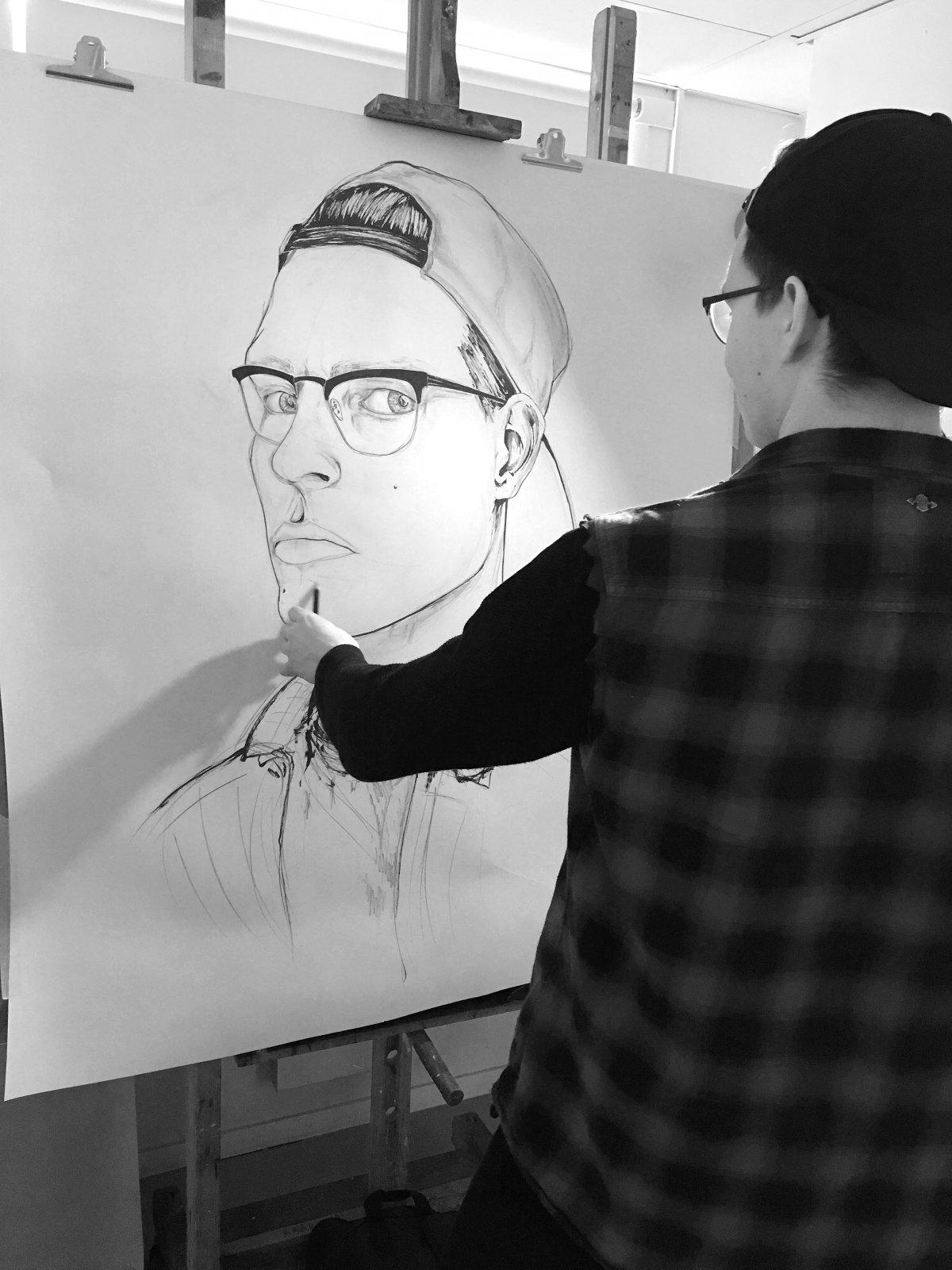 Portrett, tegning (i prosess)